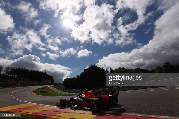 Max Verstappen of the Netherlands driving the Aston Martin Red Bull Racing RB16 during qualifying for the F1 Grand Prix of Belgium at Circuit de...