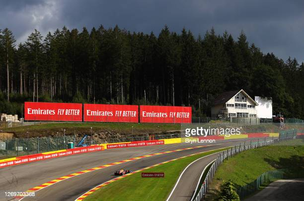 Max Verstappen of the Netherlands driving the Aston Martin Red Bull Racing RB16 on track during the F1 Grand Prix of Belgium at Circuit de...