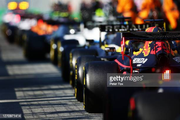 Max Verstappen of the Netherlands driving the Aston Martin Red Bull Racing RB16 in the Pitlane during the F1 Grand Prix of Italy at Autodromo di...