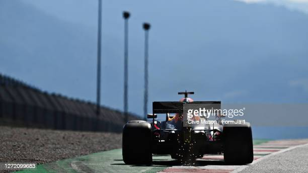 Max Verstappen of the Netherlands driving the Aston Martin Red Bull Racing RB16 on track during qualifying for the F1 Grand Prix of Tuscany at...