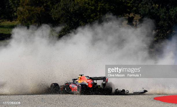 Max Verstappen of the Netherlands driving the Aston Martin Red Bull Racing RB16 into the gravel after a crash at the start during the F1 Grand Prix...