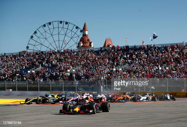 Max Verstappen of the Netherlands driving the Aston Martin Red Bull Racing RB16 runs wide during the F1 Grand Prix of Russia at Sochi Autodrom on...