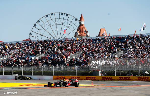 Max Verstappen of the Netherlands driving the Aston Martin Red Bull Racing RB16 on track during the F1 Grand Prix of Russia at Sochi Autodrom on...