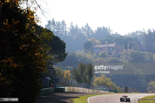 Max Verstappen of the Netherlands driving the Aston Martin Red Bull Racing RB16 on track during practice ahead of the F1 Grand Prix of Emilia Romagna...