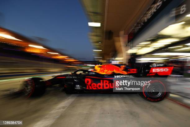 Max Verstappen of the Netherlands driving the Aston Martin Red Bull Racing RB16 leaves the garage during practice ahead of the F1 Grand Prix of...
