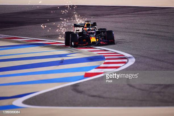 Max Verstappen of the Netherlands driving the Aston Martin Red Bull Racing RB16 on track during qualifying ahead of the F1 Grand Prix of Sakhir at...
