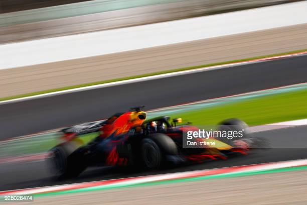 Max Verstappen of the Netherlands driving the Aston Martin Red Bull Racing RB14 TAG Heuer on track during day one of F1 Winter Testing at Circuit de...