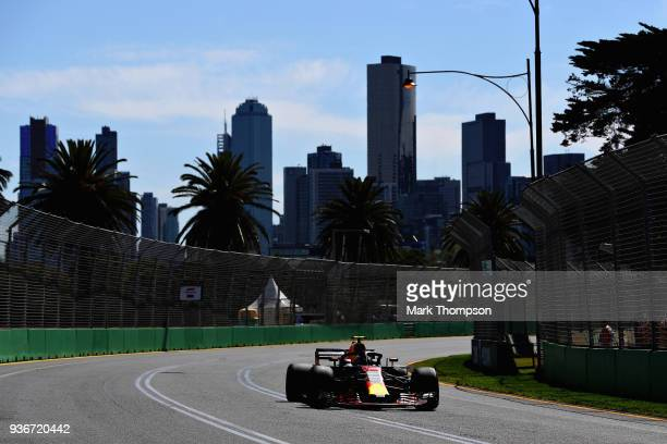 Max Verstappen of the Netherlands driving the Aston Martin Red Bull Racing RB14 TAG Heuer on track during practice for the Australian Formula One...