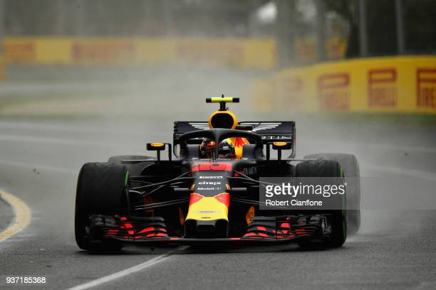 Max Verstappen of the Netherlands driving the Aston Martin Red Bull Racing RB14 TAG Heuer on track during final practice for the Australian Formula...