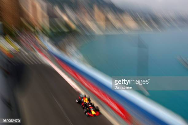 Max Verstappen of the Netherlands driving the Aston Martin Red Bull Racing RB14 TAG Heuer on track during practice for the Monaco Formula One Grand...