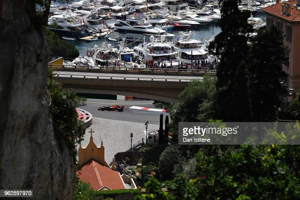 Max Verstappen of the Netherlands driving the Aston Martin Red Bull Racing RB14 TAG Heuer on track during final practice for the Monaco Formula One...
