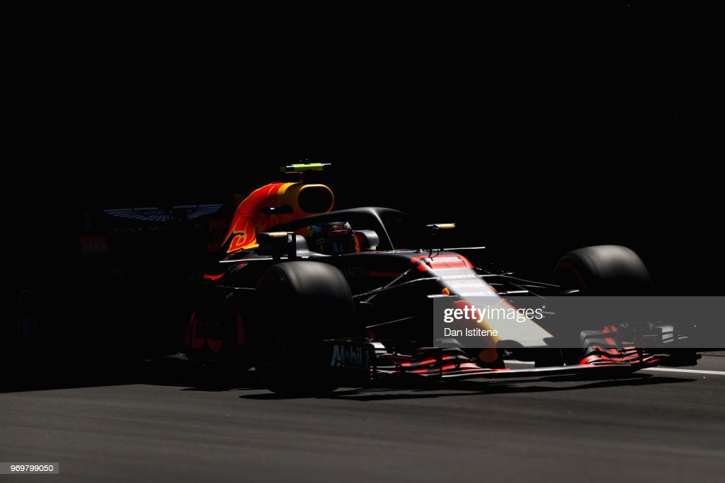 Max Verstappen of the Netherlands driving the (33) Aston Martin Red Bull Racing RB14 TAG Heuer on track during practice for the Canadian Formula One Grand Prix at Circuit Gilles Villeneuve on June 8, 2018 in Montreal, Canada.