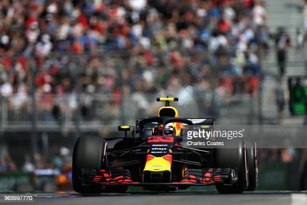 Max Verstappen of the Netherlands driving the Aston Martin Red Bull Racing RB14 TAG Heuer on track during practice for the Canadian Formula One Grand...