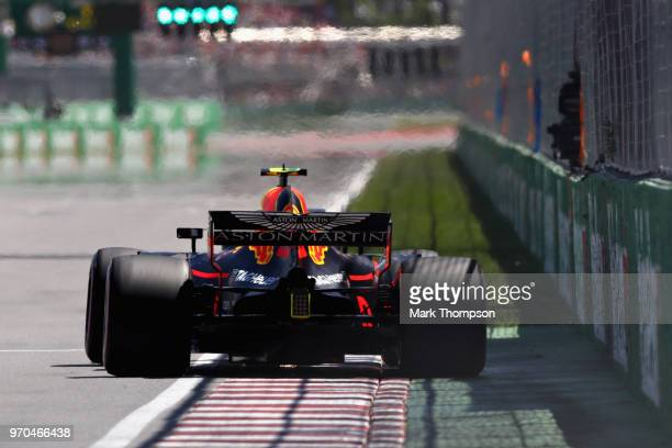 Max Verstappen of the Netherlands driving the Aston Martin Red Bull Racing RB14 TAG Heuer on track during qualifying for the Canadian Formula One...