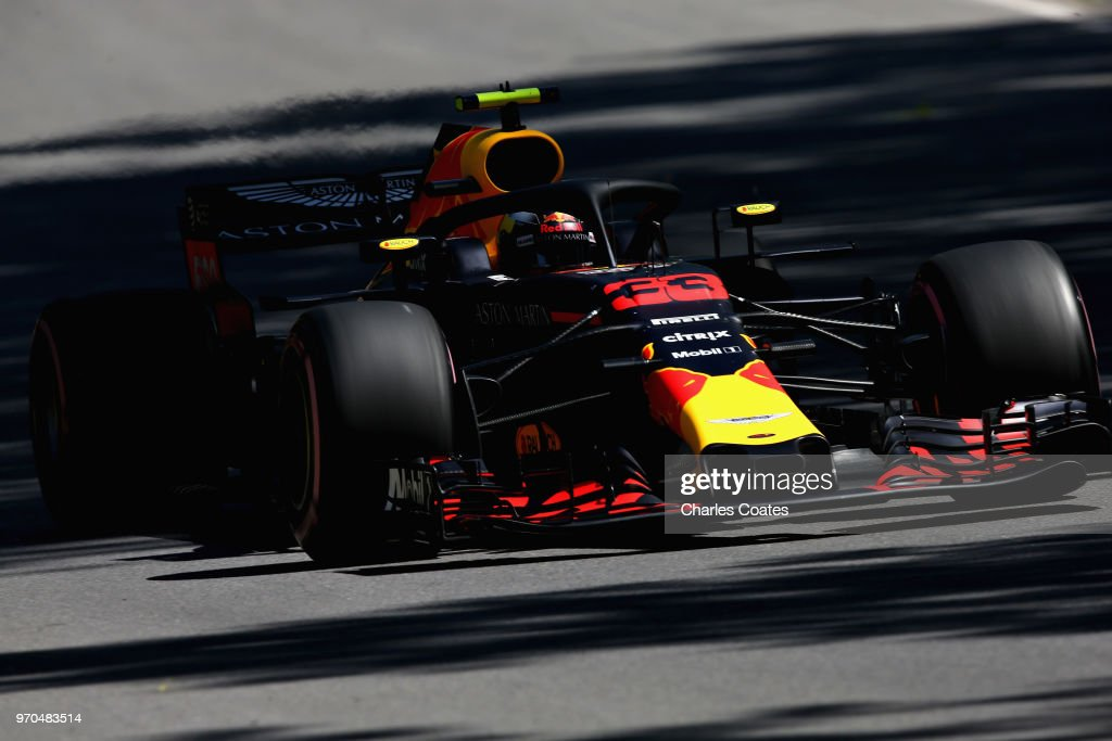 Max Verstappen of the Netherlands driving the (33) Aston Martin Red Bull Racing RB14 TAG Heuer on track during qualifying for the Canadian Formula One Grand Prix at Circuit Gilles Villeneuve on June 9, 2018 in Montreal, Canada.