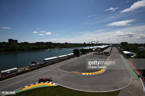 Max Verstappen of the Netherlands driving the Aston Martin Red Bull Racing RB14 TAG Heuer on track during final practice for the Canadian Formula One...