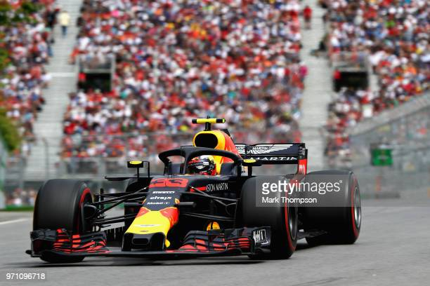 Max Verstappen of the Netherlands driving the Aston Martin Red Bull Racing RB14 TAG Heuer on track during the Canadian Formula One Grand Prix at...