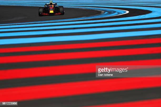 Max Verstappen of the Netherlands driving the Aston Martin Red Bull Racing RB14 TAG Heuer on track during practice for the Formula One Grand Prix of...