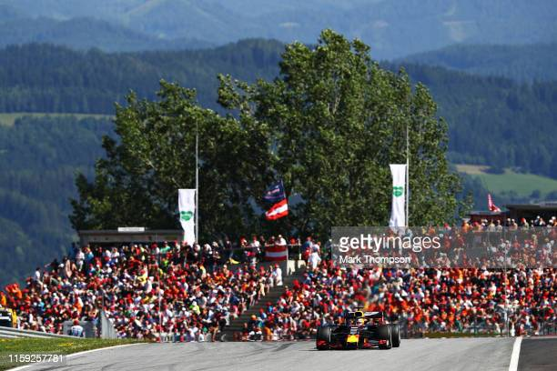 Max Verstappen of the Netherlands driving the Aston Martion Red Bull Racing RB15 on track during the F1 Grand Prix of Austria at Red Bull Ring on...