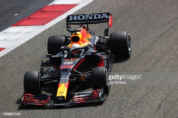 Max Verstappen of the Netherlands driving the Red Bull Racing RB16B Honda on track during Day One of F1 Testing at Bahrain International Circuit on...