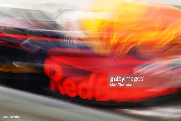 Max Verstappen of the Netherlands driving the Red Bull Racing RB16B Honda makes a pitstop during Day Three of F1 Testing at Bahrain International...