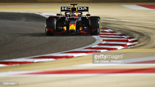 Max Verstappen of the Netherlands driving the Red Bull Racing RB16B Honda during qualifying ahead of the F1 Grand Prix of Bahrain at Bahrain...