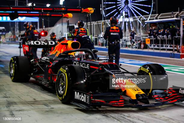 Max Verstappen of the Netherlands driving the Red Bull Racing RB16B Honda makes a pitstop during the F1 Grand Prix of Bahrain at Bahrain...