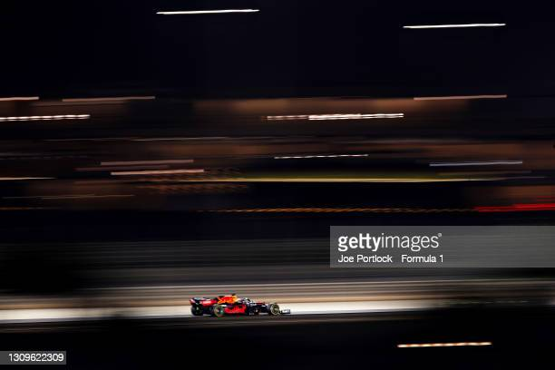Max Verstappen of the Netherlands driving the Red Bull Racing RB16B Honda during the F1 Grand Prix of Bahrain at Bahrain International Circuit on...