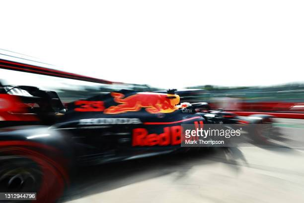 Max Verstappen of the Netherlands driving the Red Bull Racing RB16B Honda leaves the garage during final practice ahead of the F1 Grand Prix of...