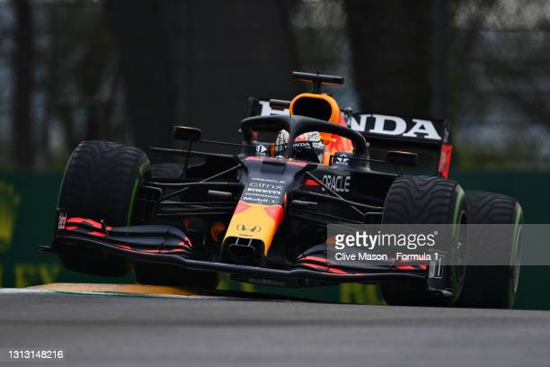 Max Verstappen of the Netherlands driving the Red Bull Racing RB16B Honda launches off a raised kerb during the F1 Grand Prix of Emilia Romagna at...