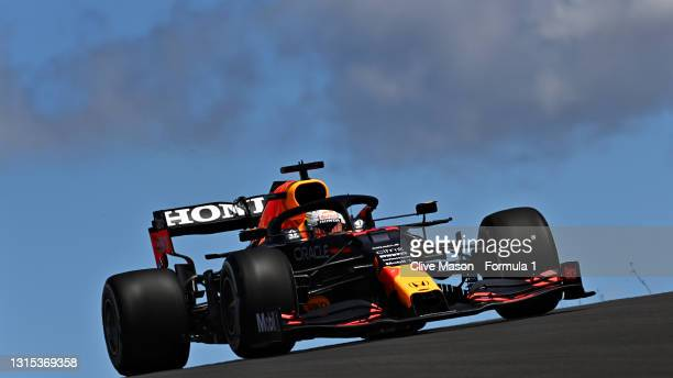 Max Verstappen of the Netherlands driving the Red Bull Racing RB16B Honda during practice ahead of the F1 Grand Prix of Portugal at Autodromo...