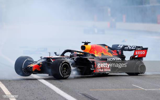 Max Verstappen of the Netherlands driving the Red Bull Racing RB16B Honda crashes during the F1 Grand Prix of Azerbaijan at Baku City Circuit on June...