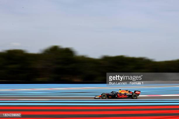 Max Verstappen of the Netherlands driving the Red Bull Racing RB16B Honda on track during practice ahead of the F1 Grand Prix of France at Circuit...