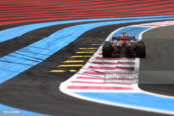 Max Verstappen of the Netherlands driving the Red Bull Racing RB16B Honda on track during qualifying ahead of the F1 Grand Prix of France at Circuit...