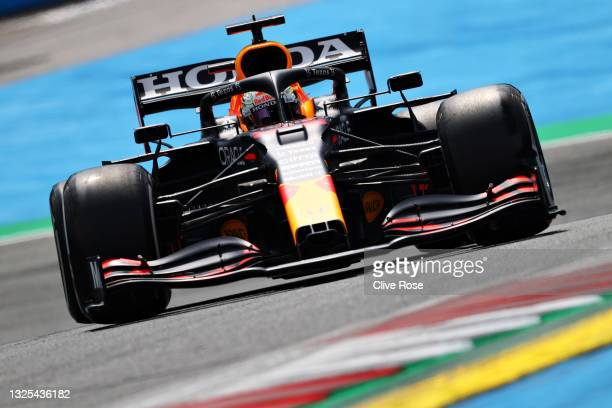 Max Verstappen of the Netherlands driving the Red Bull Racing RB16B Honda on track during practice ahead of the F1 Grand Prix of Styria at Red Bull...
