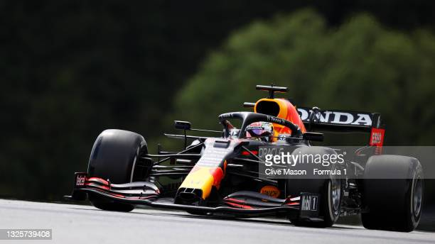 Max Verstappen of the Netherlands driving the Red Bull Racing RB16B Honda during the F1 Grand Prix of Styria at Red Bull Ring on June 27, 2021 in...