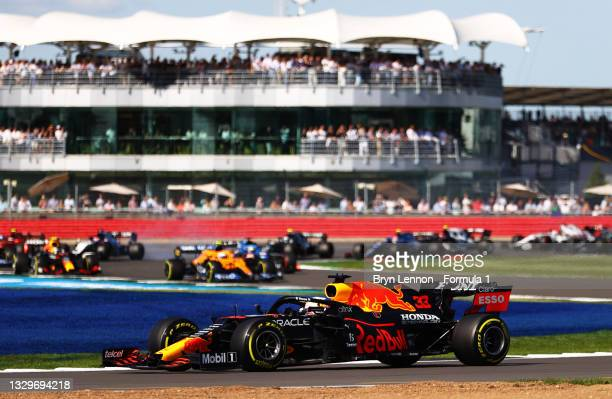 Max Verstappen of the Netherlands driving the Red Bull Racing RB16B Honda during the Sprint for the F1 Grand Prix of Great Britain at Silverstone on...