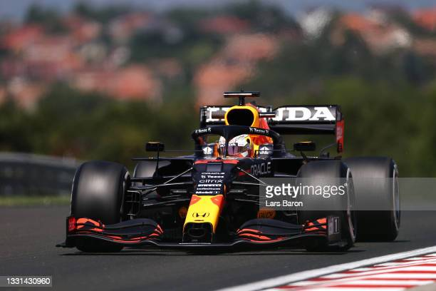Max Verstappen of the Netherlands driving the Red Bull Racing RB16B Honda during practice ahead of the F1 Grand Prix of Hungary at Hungaroring on...