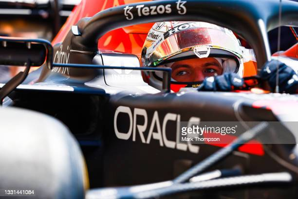 Max Verstappen of the Netherlands driving the Red Bull Racing RB16B Honda stops in the Pitlane during practice ahead of the F1 Grand Prix of Hungary...
