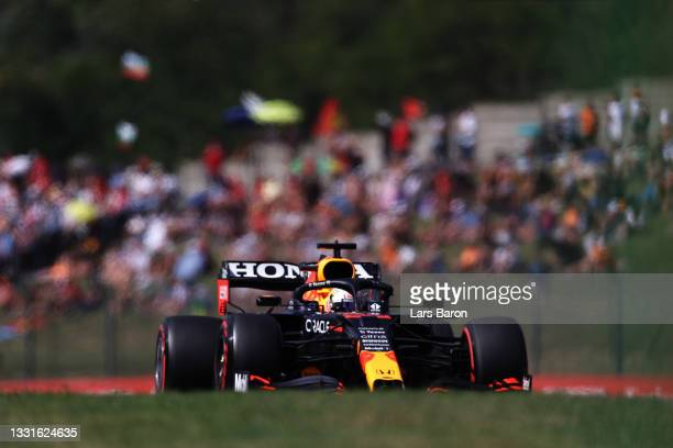 Max Verstappen of the Netherlands driving the Red Bull Racing RB16B Honda during qualifying ahead of the F1 Grand Prix of Hungary at Hungaroring on...