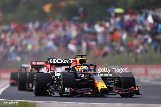 Max Verstappen of the Netherlands driving the Red Bull Racing RB16B Honda with a broken bargeboard during the F1 Grand Prix of Hungary at Hungaroring...