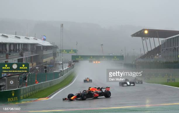Max Verstappen of the Netherlands driving the Red Bull Racing RB16B Honda during the F1 Grand Prix of Belgium at Circuit de Spa-Francorchamps on...