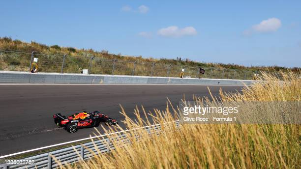 Max Verstappen of the Netherlands driving the Red Bull Racing RB16B Honda during practice ahead of the F1 Grand Prix of The Netherlands at Circuit...