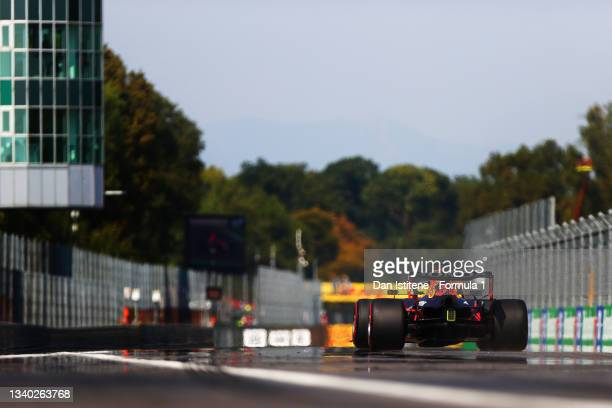 Max Verstappen of the Netherlands driving the Red Bull Racing RB16B Honda to the grid before the F1 Grand Prix of Italy at Autodromo di Monza on...