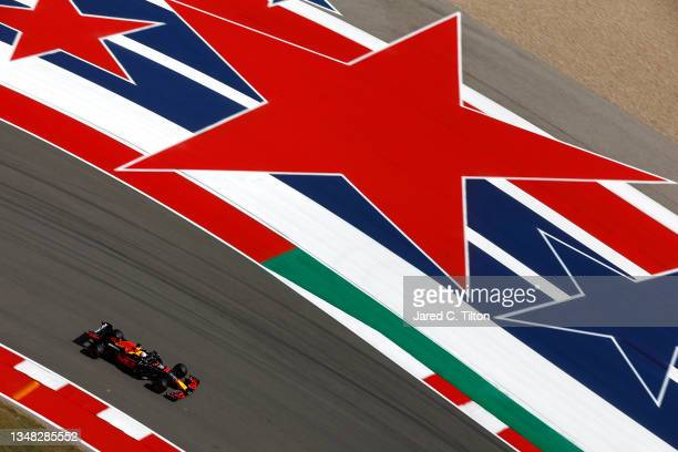 Max Verstappen of the Netherlands driving the Red Bull Racing RB16B Honda during final practice ahead of the F1 Grand Prix of USA at Circuit of The...