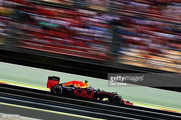 Max Verstappen of the Netherlands driving the Red Bull Racing Red BullTAG Heuer RB12 TAG Heuer on track during the Spanish Formula One Grand Prix at...