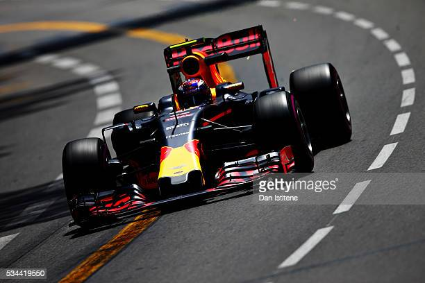 Max Verstappen of the Netherlands driving the Red Bull Racing Red BullTAG Heuer RB12 TAG Heuer on track during practice for the Monaco Formula One...