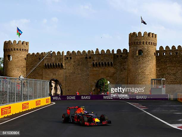 Max Verstappen of the Netherlands driving the Red Bull Racing Red Bull-TAG Heuer RB12 TAG Heuer on track during qualifying for the European Formula...