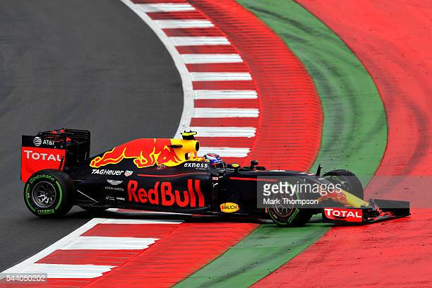 Max Verstappen of the Netherlands driving the Red Bull Racing Red BullTAG Heuer RB12 TAG Heuer spins on track during practice for the Formula One...