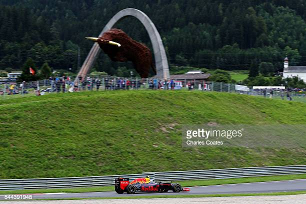Max Verstappen of the Netherlands driving the Red Bull Racing Red BullTAG Heuer RB12 TAG Heuer on track during the Formula One Grand Prix of Austria...